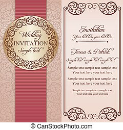 Baroque wedding invitation, pink and beige - Antique baroque...