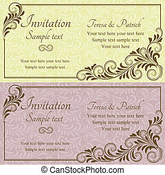 Baroque wedding invitation, pink and yellow
