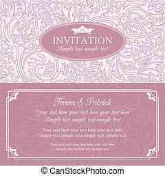 Baroque wedding invitation, pink