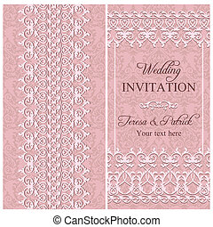 Antique baroque wedding invitation with lace, pink colour