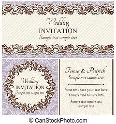 Baroque wedding invitation set, beige