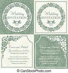 Baroque wedding invitation set, blue and beige
