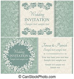 Baroque wedding invitation set, blue