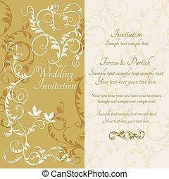 Baroque wedding invitation, yellow and beige - Antique ...