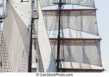 Barquentine yacht sails and rigging background - Marine or...