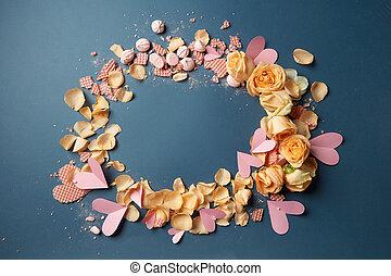 barquillos, y, rosas, como, decoración, de, plano de fondo