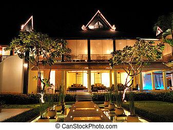 barra, área, hotel, salón, lujo, noche, tailandia, ...