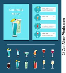 barra, alcohólico, menú, bebidas, cócteles, disposición