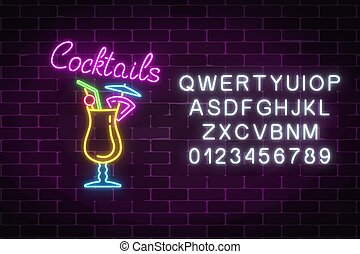 barra, alcohol, gas, pina, letrero de gas de neón, cócteles...