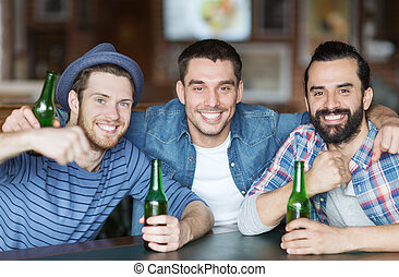 barra, bar, cerveza, bebida, macho, amigos, o, feliz