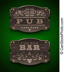 barra, bar, de madera, señales