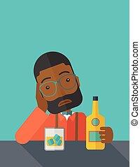 barra, beer., triste, africano, solamente, bebida, hombre