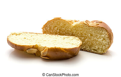 barra, blanco, aislado, trenzado, bread