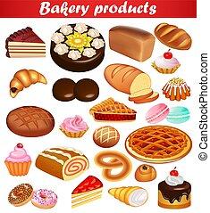 barra, bread, conjunto, rosquillas, croissants., pastel,...