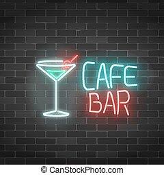 barra, cóctel, fondo., pared, neón, gas, señal, vidrio, ...