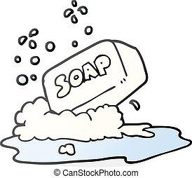 barra, caricatura, jabón