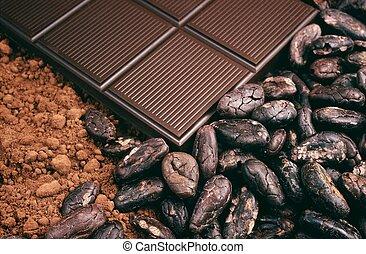 barra chocolate, cacau, feijões