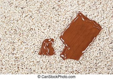 barra chocolate, derrubado, tapete