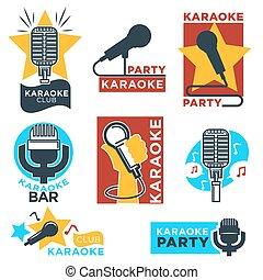 barra, club, etiquetas, vector, diseño, karaoke
