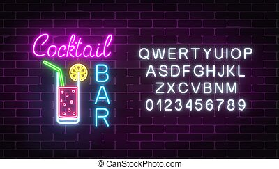 barra, club, neón, signboard, señal, cócteles, encendido, ...