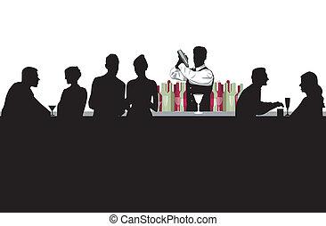 barra de cóctel, con, barman