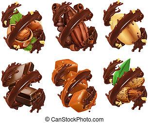 barra de chocolate, nueces, caramelo, cacao, frijol, en,...