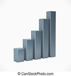 barra, empresa / negocio, fondo., aislado, ilustración, interpretación, blanco, plata, 3d