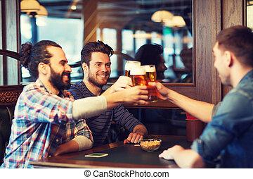 barra, feliz, o, macho, cerveza, bebida, bar, amigos