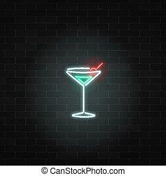 barra, fondo., pared, gas, neón, cocktail., señal, vidrio, ...