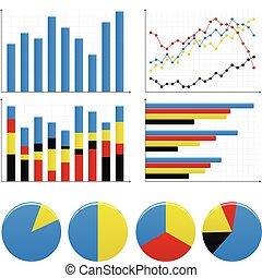 barra, gráfico de pastel, gráfico