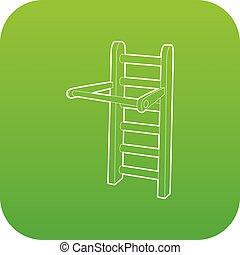 barra, horizontal, vector, verde, icono