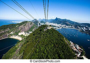 barra, janeiro, cablegrafíe coche, de, azúcar, río, brazil.