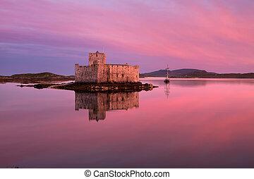barra, kisimul, 城, スコットランド, hebrides, 外の, 島
