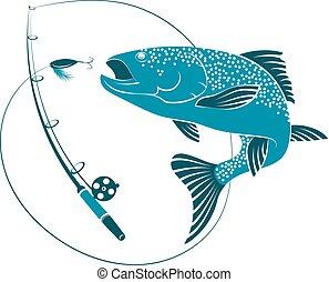 barra, pez, Saltar, cebo, pesca