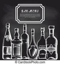barra, pizarra, botellas, plano de fondo, menú