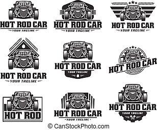 barra quente, car, logotipo, hotrod, vetorial, emblema,...