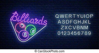 barra, signboard, taproom, símbolo, billar, neón, encendido, publicidad, noche, alphabet., piscina, game.