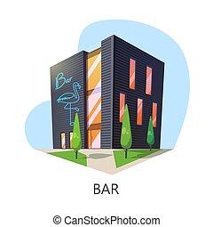 barra, taproom, construcción, exterior, edificio, vista