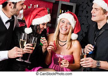barra, tenga diversión, fiesta, amigos, navidad