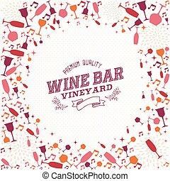 barra, vendimia, lista, ilustración, plano de fondo, vino