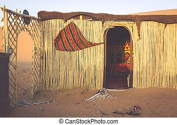 barraca, acampamento, para, turistas, em, dunas areia, de, erg, chebbi, em, alvorada, marrocos