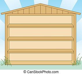 barraca almacenamiento, con, estantes