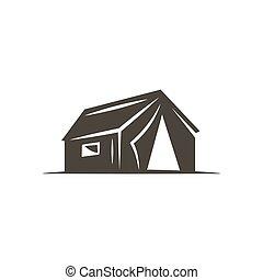 barraca, uso, ícone, sólido, aventura, isolado, creation., símbolo., experiência., vetorial, ilustração, monocromático, logotipo, branca, design., estoque