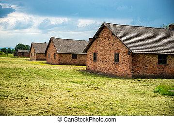 barracas, em, anterior, nazista, acampamento concentração