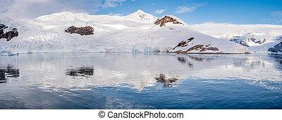 barracas, porto, panorama, acampamento, península, arctowski, geleira, local, vermelho, neko, antártica