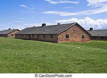Barracks for women in Auschwitz-Birkenau concentration camp, Poland