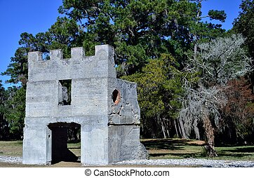 The ruins of the barracks that were built by the British in the early 1700s, located on Saint Simons Island, Georgia