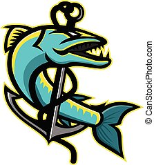 barracuda-anchor-MASCOT - Mascot icon illustration of a...