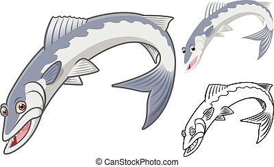 barracuda, caricatura, carácter