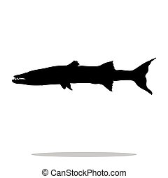Barracuda fish black silhouette aquatic animal. Vector ...